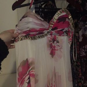 Cache pink floral prom dress size 2